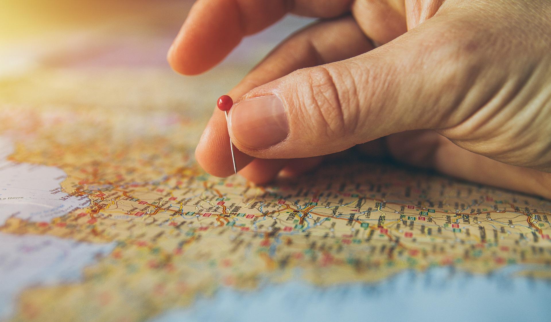 地図上の目的地
